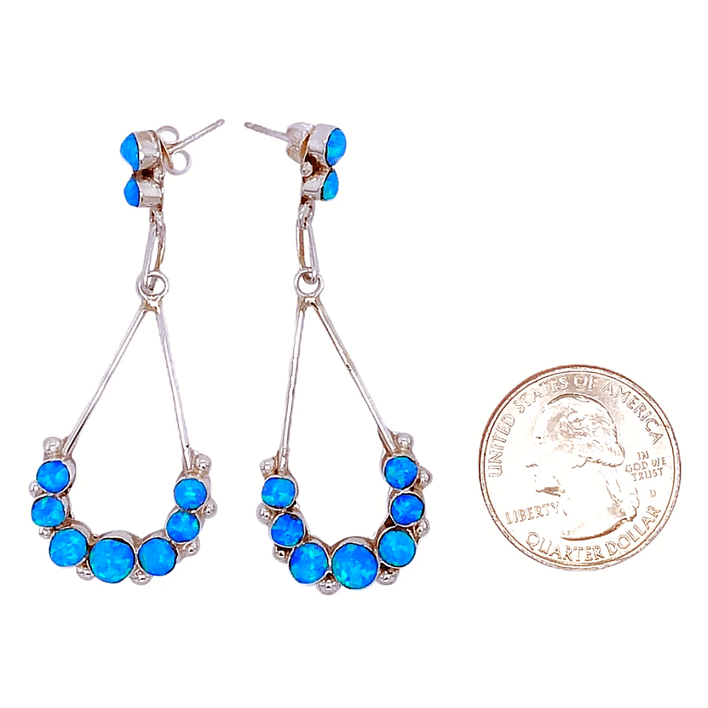 Native American Earrings - Zuni Blue Sparkling Teardrop Created Dark Opal Earrings