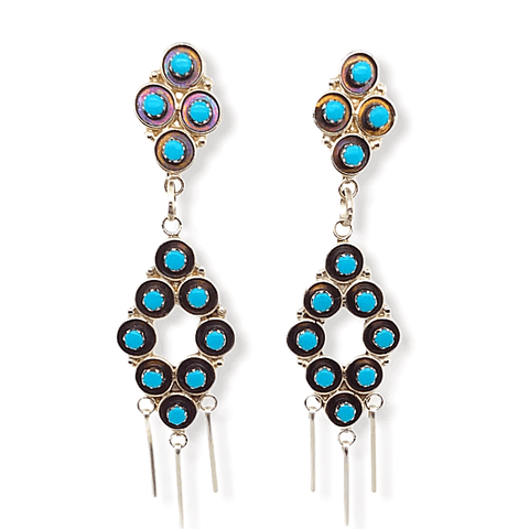 Native American Earrings - Zuni Dangle Sleeping Beauty Turquoise Earrings
