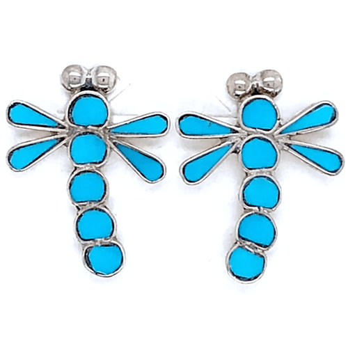 Native American Earrings - Zuni Dragonfly Sleeping Beauty Inlay Earrings
