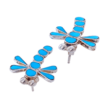 Load image into Gallery viewer, Native American Earrings - Zuni Dragonfly Sleeping Beauty Inlay Earrings