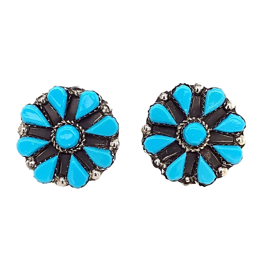 Native American Earrings - Zuni Flower Cluster Sleeping Beauty Turquoise Sterling Stud Earrings - Veronica Martza