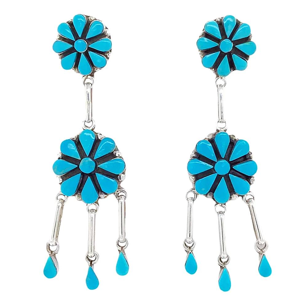 Native American Earrings - Zuni Flower Clusters Sleeping Beauty Turquoise Sterling Dangle Earrings