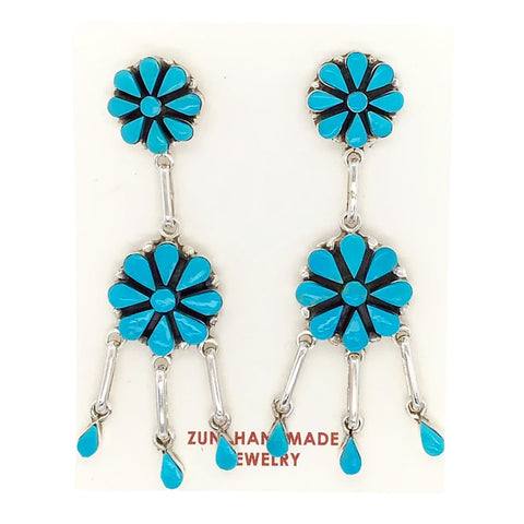 Image of Native American Earrings - Zuni Flower Clusters Sleeping Beauty Turquoise Sterling Dangle Earrings