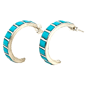 Native American Earrings - Zuni Half Hoop Earrings With Small Square Turquoise Stones