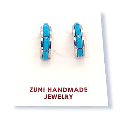 Native American Earrings - Zuni Half Hoop Sleeping Beauty Turquoise Inlay  Post Earrings