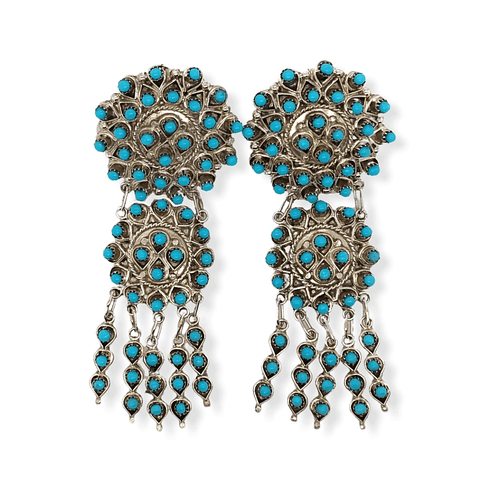 Native American Earrings - Zuni Handcrafted Turquoise Petit Point Dangle Earrings - Wayne Johnson