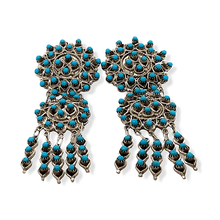 Load image into Gallery viewer, Native American Earrings - Zuni Handcrafted Turquoise Petit Point Dangle Earrings - Wayne Johnson