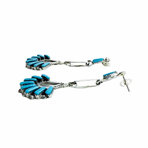Native American Earrings - Zuni Large Needle Point Sleeping Beauty Turquoise Sterling Silver Dangle Earrings -  Native American
