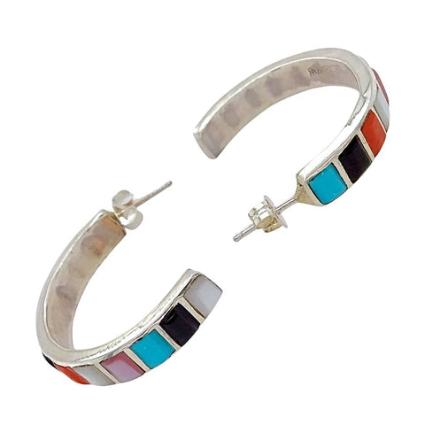 Image of Native American Earrings - Zuni Medium Multi-Stone Sterling Silver Hoop Earrings