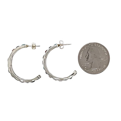 Native American Earrings - Zuni Medium Multi-Stone Sterling Silver Hoop Earrings