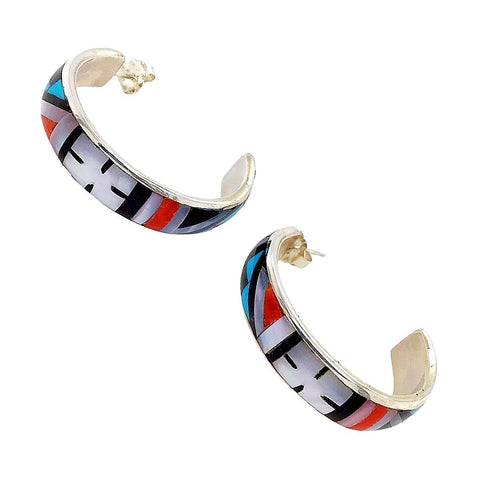 Native American Earrings - Zuni Medium Traditional Inlay Sterling Silver Hoop Earrings- Delberta Boone