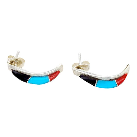 Image of Native American Earrings - Zuni Multi-Stone Sterling Post Earrings