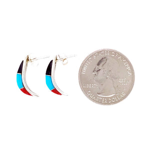 Native American Earrings - Zuni Multi-Stone Sterling Post Earrings