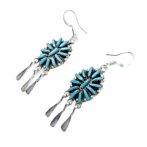 Native American Earrings - Zuni Needle Point Sleeping Beauty Turquoise Sterling Silver Dangle Chandelier French Hook Earrings - George Peina - Native American