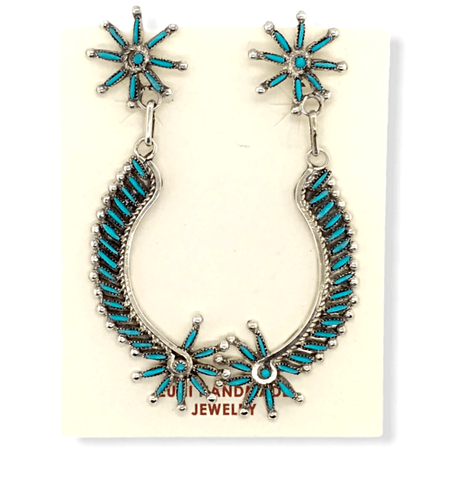 Native American Earrings - Zuni Needle Point Turquoise Dangle Earrings