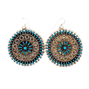 Native American Earrings - Zuni Needlepoint Turquoise Round Hook Earrings