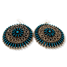Load image into Gallery viewer, Native American Earrings - Zuni Needlepoint Turquoise Round Hook Earrings