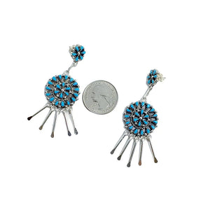Native American Earrings - Zuni Petit Point Sleeping Beauty Turquoise Sterling Silver Dangle Chandelier Earrings - Native American