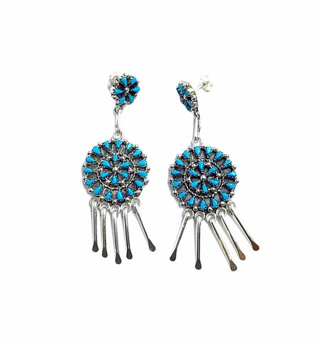 Image of Native American Earrings - Zuni Petit Point Sleeping Beauty Turquoise Sterling Silver Dangle Chandelier Earrings - Native American