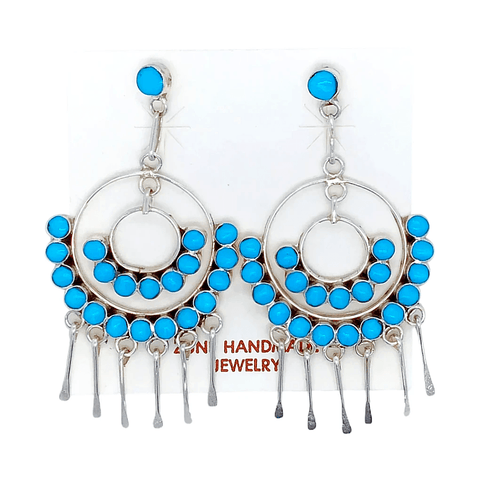 Image of Native American Earrings - Zuni Semicircle Turquoise Dangle Earrings