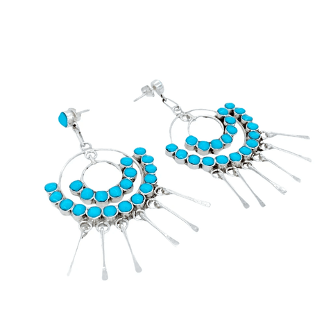 Native American Earrings - Zuni Semicircle Turquoise Dangle Earrings