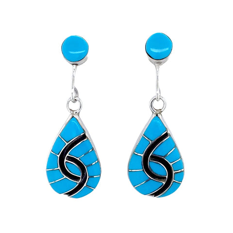 Native American Earrings - Zuni Sleeping Beauty Turquoise Drop Dangle Earrings - Amy Quandelacy - Native American