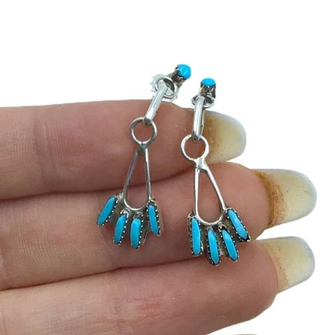 Image of Native American Earrings - Zuni Sleeping Beauty Turquoise Needle-Point Sterling Dangle Post Earrings - Native American