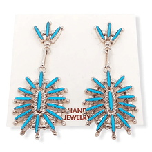 Load image into Gallery viewer, Native American Earrings - Zuni Sleeping Beauty Turquoise Needlepoint Earrings -Dangle Post