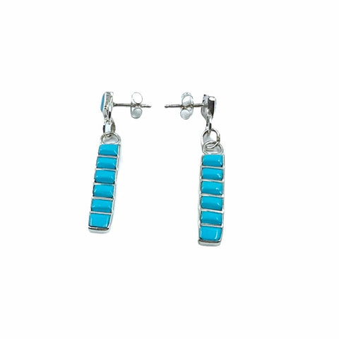 Native American Earrings - Zuni Sleeping Beauty Turquoise Row Inlay Sterling Silver Dangle Post Earrings - Native American
