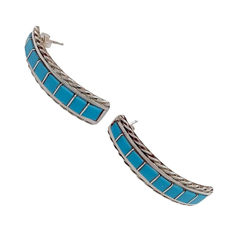 Native American Earrings - Zuni Sleeping Beauty Turquoise Sterling Silver Post Earrings- Malcolm Chavez