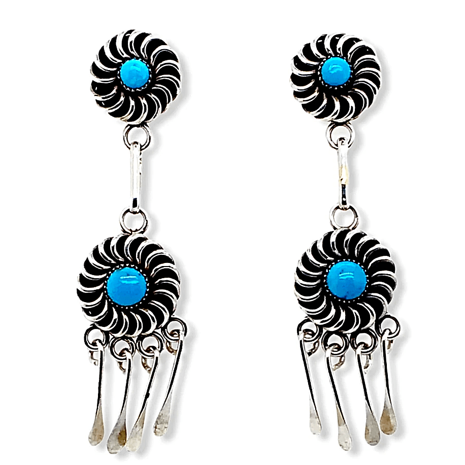Native American Earrings - Zuni Sleeping Beauty Turquoise Sun Swirl Dangle Earrings