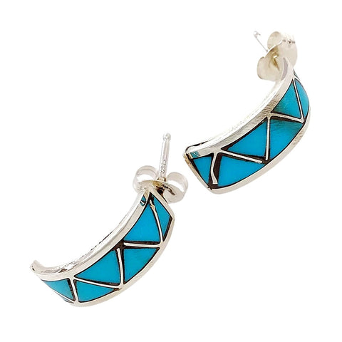 Image of Native American Earrings - Zuni Sleeping Beauty Turquoise Triangle Inlay Half Hoop Earrings