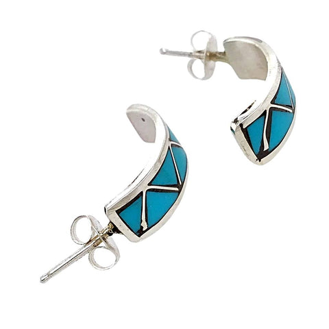 Native American Earrings - Zuni Sleeping Beauty Turquoise Triangle Inlay Half Hoop Earrings