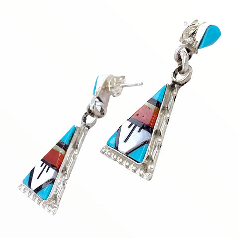 Native American Earrings - Zuni Triangle Multi-Stone Inlay Sterling Silver Dangle Earrings - Native American