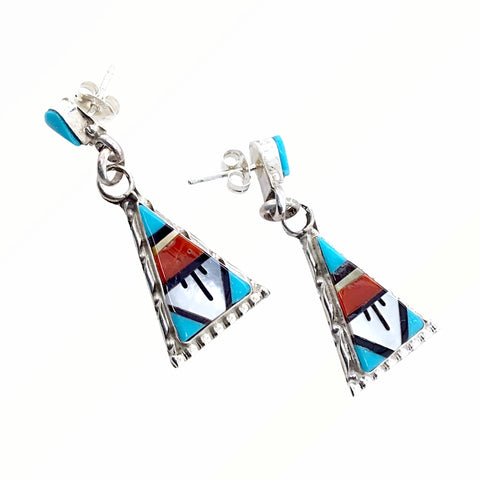 Image of Native American Earrings - Zuni Triangle Multi-Stone Inlay Sterling Silver Dangle Earrings - Native American