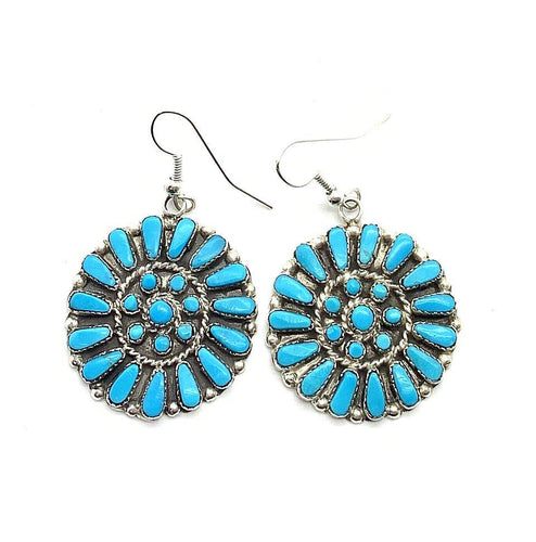 Native American Earrings - Zuni Turquoise Petit Point Cluster Earrings -French Hooks