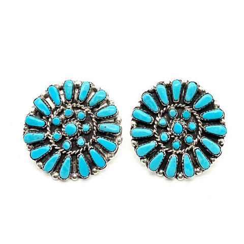 Image of Native American Earrings - Zuni Turquoise Petit Point Cluster Post Earrings