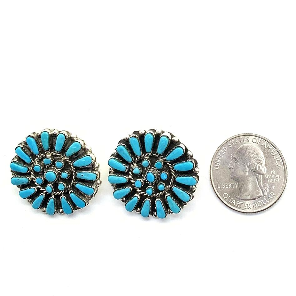 Native American Earrings - Zuni Turquoise Petit Point Cluster Post Earrings