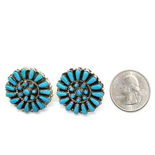 Load image into Gallery viewer, Native American Earrings - Zuni Turquoise Petit Point Cluster Post Earrings