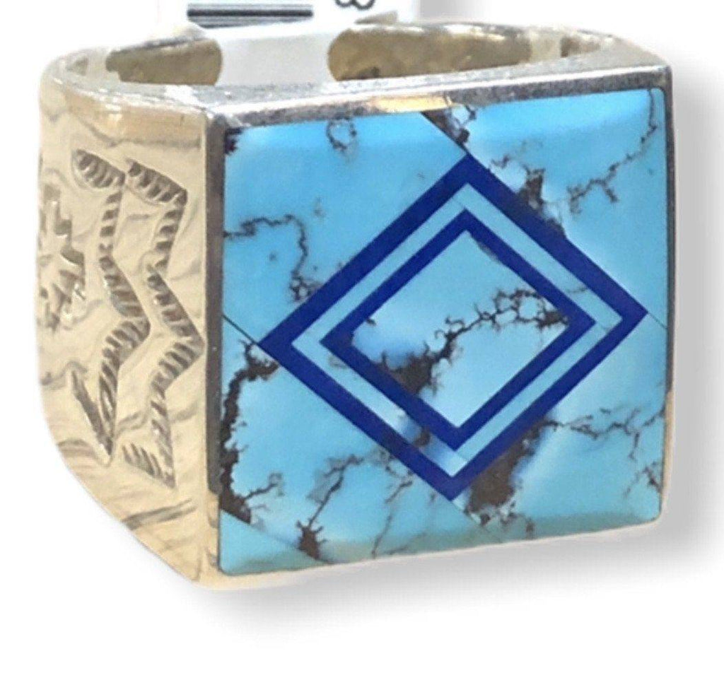 Native American Jewelry - Benson Manygoats Inlay Ring-Navajo