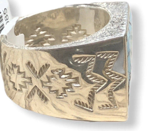 Image of Native American Jewelry - Benson Manygoats Inlay Ring-Navajo