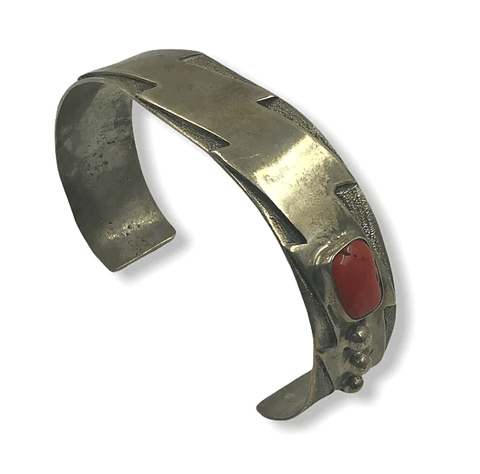 Image of Native American Jewelry - Highorse Coral Pawn Bracelet