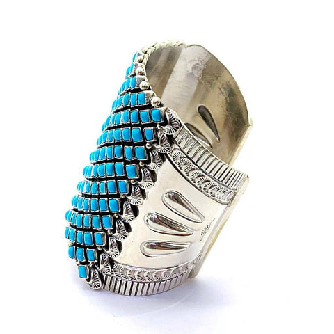 Image of Native American Jewelry - Large Navajo Sleeping Beauty Turquoise Bracelet By Alice Lister