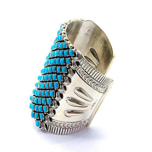 Native American Jewelry - Large Navajo Sleeping Beauty Turquoise Bracelet By Alice Lister