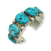 Load image into Gallery viewer, Large Zuni Turquoise  Nugget Bracelet Sleeping Beauty