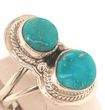 Load image into Gallery viewer, Navajo Kingman Turquoise 2 Stone Ring