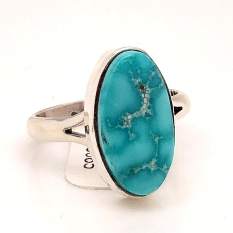Image of Native American Jewelry - Navajo Kingman Turquoise Ring -Plain Setting