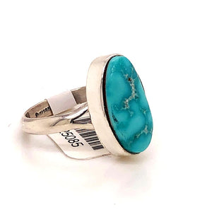 Native American Jewelry - Navajo Kingman Turquoise Ring -Plain Setting