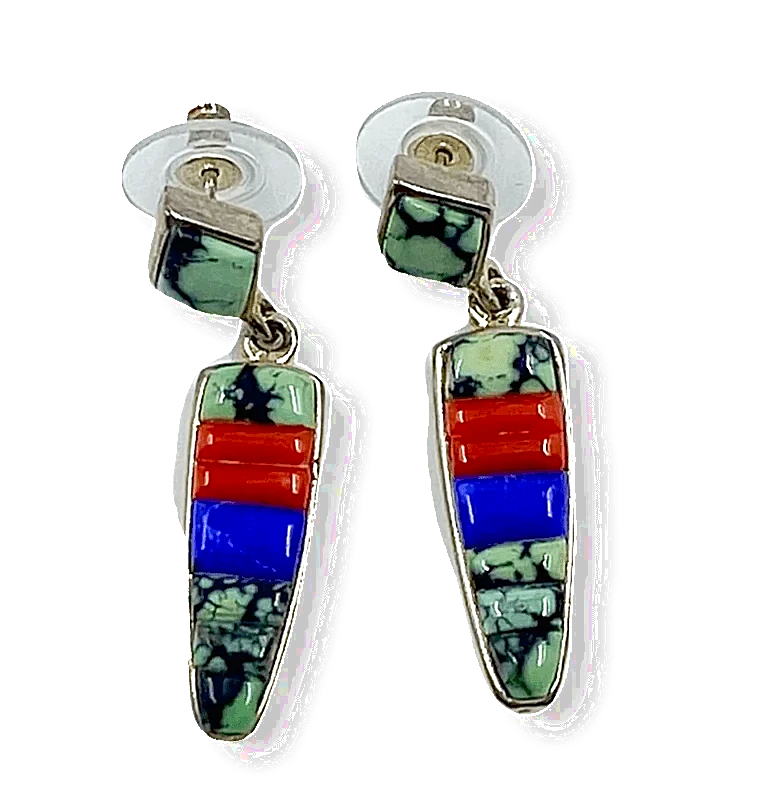 Native American Jewelry - Navajo Multi Color Earrings Lapis, Turquoise, Coral