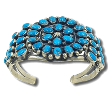 Load image into Gallery viewer, Navajo Pawn Turquoise Cluster Bracelet